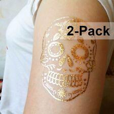 Sugar Flower Skull Gold Temporary Tattoos Flash Tattoo Stickers 2 Pack