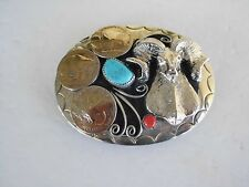 BELT BUCKLE RAM SOUTHWEST, 3 NICKLES 1-TURQUOISE,1-CORAL, MADE IN USA G-20