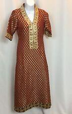 Ethnic Kurta Top Pakistan Gown Tunic Rust Gold Trim Black Paisley Trim V Neck