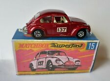 Lesney Matchbox Superfast no 15 Volkswagen VW 1500 Beetle. boxed code 3 restored