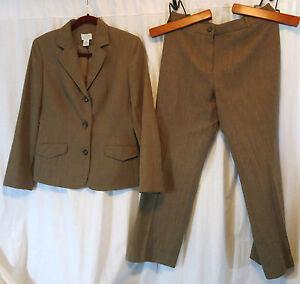 Ann Taylor Loft Pant Suit Brown 8P Wool Work Wear Lined