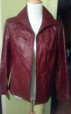 EAST 5TH LARGE P GENUINE LEATHER FRONT ZIPPER JACKET COAT CHERRYWOOD.