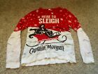 """Captain Morgan """"here To Sleigh"""" Ugly Christmas Winter Sweater Size Small"""