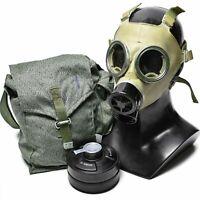 SURPLUS POLISH MC-1 GAS MASK W/ FILTER AND CAMO BAG Respirator Extra Filters Av
