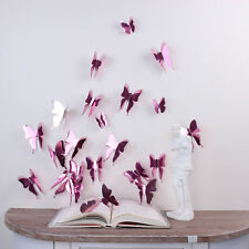 Wall Sticker Art Room Decoration 3D Butterflies Rose Gold 14pcs