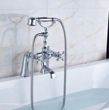 Polished Chrome Bathroom Deck Mount ClawFoot Tub Faucet & Hand Shower ecy006
