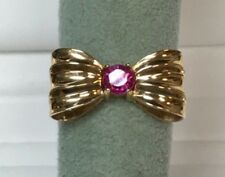 14 Kt Yellow Gold Bow Ring With Ruby