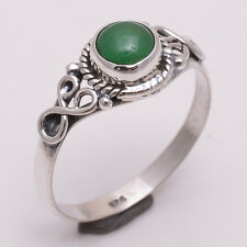 925 Sterling Silver Ring US Size 9, Natural Green Onyx Gemstone Jewelry R2298