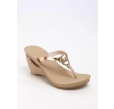 New Michael Kors Warren Wedge Pumps Heels Shoes Slides Thong Sandals Champagne