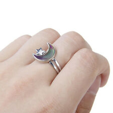 Moon & Star Shaped Mood Ring Adjustable Ring Feeling Changeable Fashion Jewelry