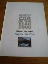 WHAT CAR? PEUGEOT 3.6 GTi-6  HOT HATCH CAR OF THE YEAR CAR 'BROCHURE' 2000