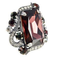 Grevenkämper Ring Silber Swarovski Kristall Rechteck Pavé Burgundy Mix rot