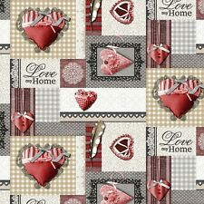 Love My Home Red Hearts Grey Beige Textured Feel PVC Plastic Vinyl Table cloth