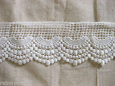 LM1 White vintage bohemian scallop fringe lace trim 9cm x2yards for dress craft