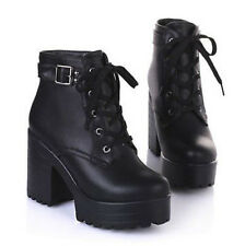 Womens Platform Lace Up Buckle Strap Punk Block Chunky Heel Ankle Boot Shoes Sz