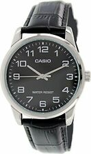 Casio Men's Analog Quartz Stainless Steel Black Leather Watch Mtpv001L-1B