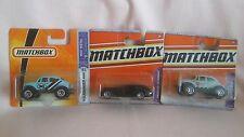 MATCHBOX SET OF THREE OLD ISSUE MODELS,MORGAN AEROMAX,X2 VOLKSWAGEN BEETLES 4X4.