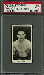 1938 F.C. CARTLEDGE #45 BEN FOORD PSA 9 MINT POP 9 FAMOUS PRIZE FIGHTERS BOXING