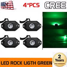 4X 9W Green Led Atv Off Road Underbody BoatUnderglow Rock Neon Light Pods Truck