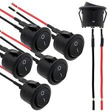 Muzhi 6pcs Rocker Switch Onoff 2pin Round Toggle Spst Switch With Wires Ac 2