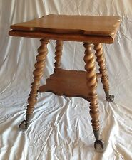 Vintage Antique Solid Oak Parlor Table 2 Tier Spiral Legs Ball & Claw Feet