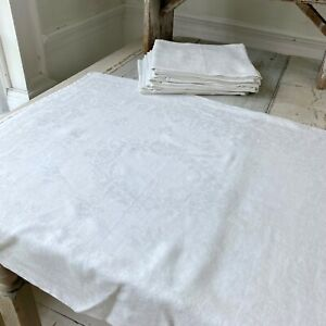 LARGE White Napkins Woven Floral Antique French Damask Linen Cotton Napkin