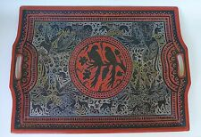 """XL Vintage Mexican Olinala incised etched lacquered wood tray 19 5/8"""" x 27 1/2"""""""