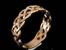 R005-> Real Genuine 9ct SOLID Rose Gold KELTIC Celtic Wedding  Band Ring size Q