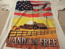 USA Men's Small Tee White With Old Glory And Farmhouse On The Front~ Nice Tee