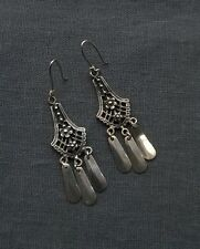 SOLID 925 STERLING SILVER CHANDALIER EARRINGS WITH DANGLES