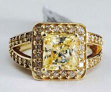 14K Yellow Gold Split Shank Halo Princess Yellow Cubic Zirconia Engagement Ring