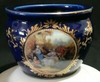 Limoges Porcelain Cobalt Blue Gold Gilt Vase