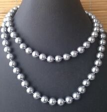 "Top Quality 10mm Silver Gray Glass Pearls Necklace 34"" Long FREE SHIP"
