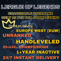 League of Legends Account LOL EUW  Lvl 30 Handleve All Champs Smurf BE Skins Acc