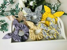 x6 pack purple/grey/beige/pastel plain/patterned hair scrunchies with bows