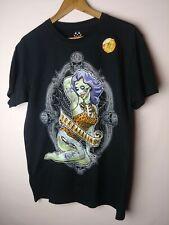 Halloween Zombie Pin up Brains Black T-Shirt Men's Sz Large Glow In The Dark New