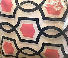 Pottery Barn Teen Trellis Twist FULL sheet set geometric royal navy blue PINK