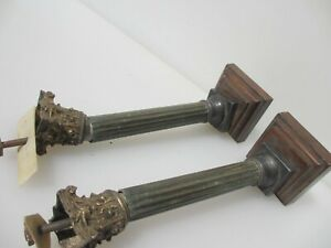 """Victorian Brass Clock Hardware Mount Classical Column Antique Old Reeded 7.5""""H"""