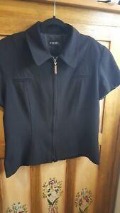 EVENTS ladies black zip front short lined jacket (size 14)