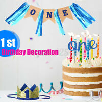 Baby First Birthday Party Hat Crown Hair Decor Banner Pull Flag Cake Plugin