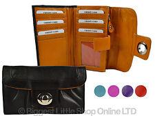 New Ladies Flap Over Soft Leather Purse/Wallet by Dominique 5 Designer Colours