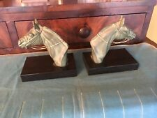 Art Deco French 1930's Equestrian Horse Bookends Signed Artist M. Leducq