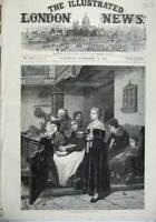 Original Old Antique Print 1871 Fine Art Devine Service Women Men Church Bible