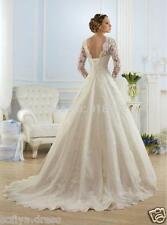 Pretty White/Ivory Lace Wedding Dress Long Sleeve Bridal Gowns Custom Size 4-18