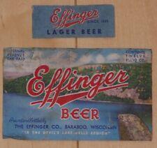 Effinger Beer, Effinger Brewery, Baraboo, Wisconsin Irtp beer labels, set of 2