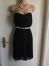 Size 6-8 Jane Norman Black Pleated Knee Length Dress BNWT