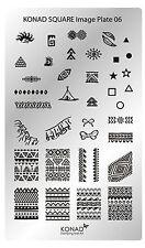 Original KONAD XL Square Stamping Schablone Plate 6 für Nailart Nageldesign