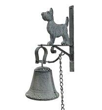 cloche sonnette clochette d entrée de porte portail en fonte murale chien 28cm