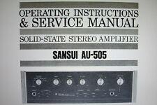 SANSUI au-505 SS ST Amplificatore istruzioni operative e manuale di servizio legati inglese