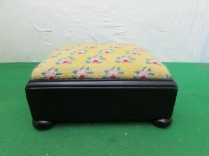 Vintage Small Embroidered & Black Lacquered Foot Stool